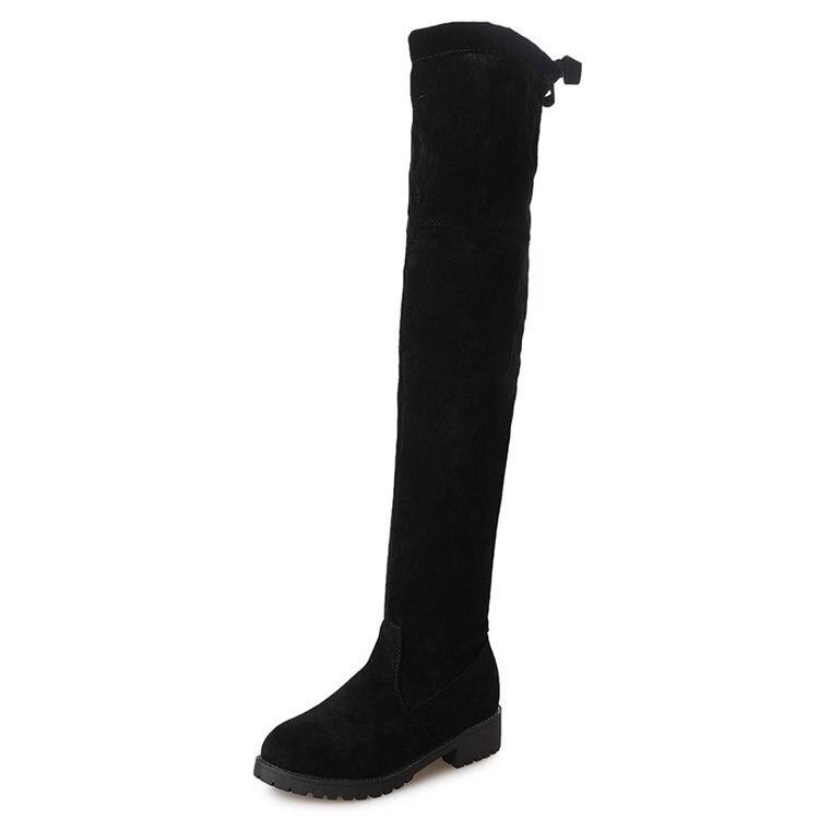 Tela Muslo Zapatos Black Plana Plush Stretch Alta Sexy Mujer Mujeres black 34 Sobre Invierno Tamaño Up Bota Feminina De Botas Rodilla La Lace 41 Largo v4aTqwz
