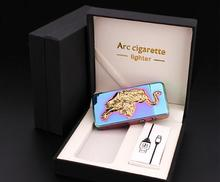 8ชิ้น/ล็อตบุหรี่อิเล็กทรอนิกส์windproofเบาสำหรับบุหรี่Usbค่าใช้จ่ายarcชายบุคลิกภาพเบาเป็นบุหรี่เครื่องเงิน