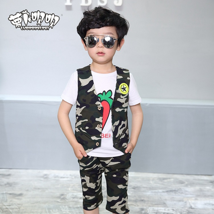 2017 new arrival child clothing sets army green so cool