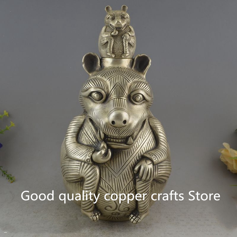 China collection archaize white copper Squirrel Wine Pot craft statue