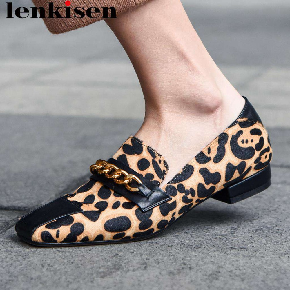 Shoe Low-Heels Pumps Square Toe Party Classic Sexy Leopard Horsehair Chain on Slip L40