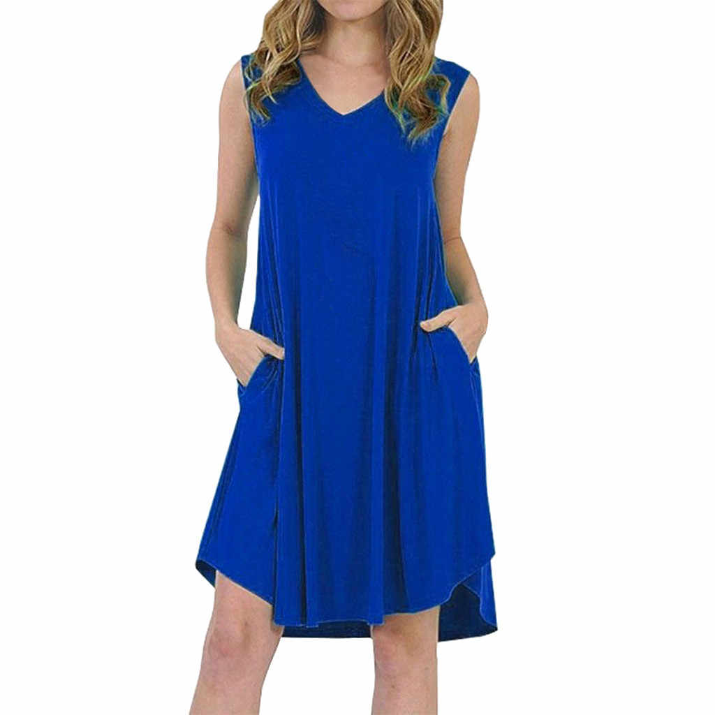 feitong Five Colors!! New Arrival Plus Size Women Ladies Sleeveless Swing Dress Skater Midi Flared Summer Sundress Vestido @17