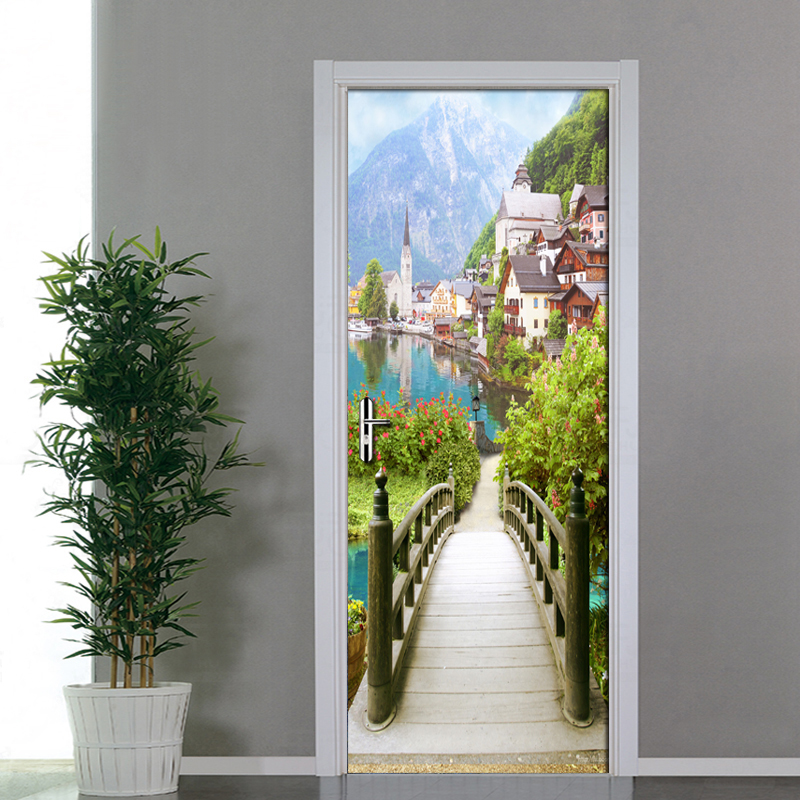 European Wooden Bridge Ancient Town Scenery Door Stickers 3D Wallpaper Living Room Bedroom PVC Waterproof Door Stickers 3D Mural