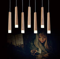 Wood Stick Pendant Lamp Lights, Kitchen Island Living Room Shop Decoration, Modern Natural Wood Pipe Pendant Lights