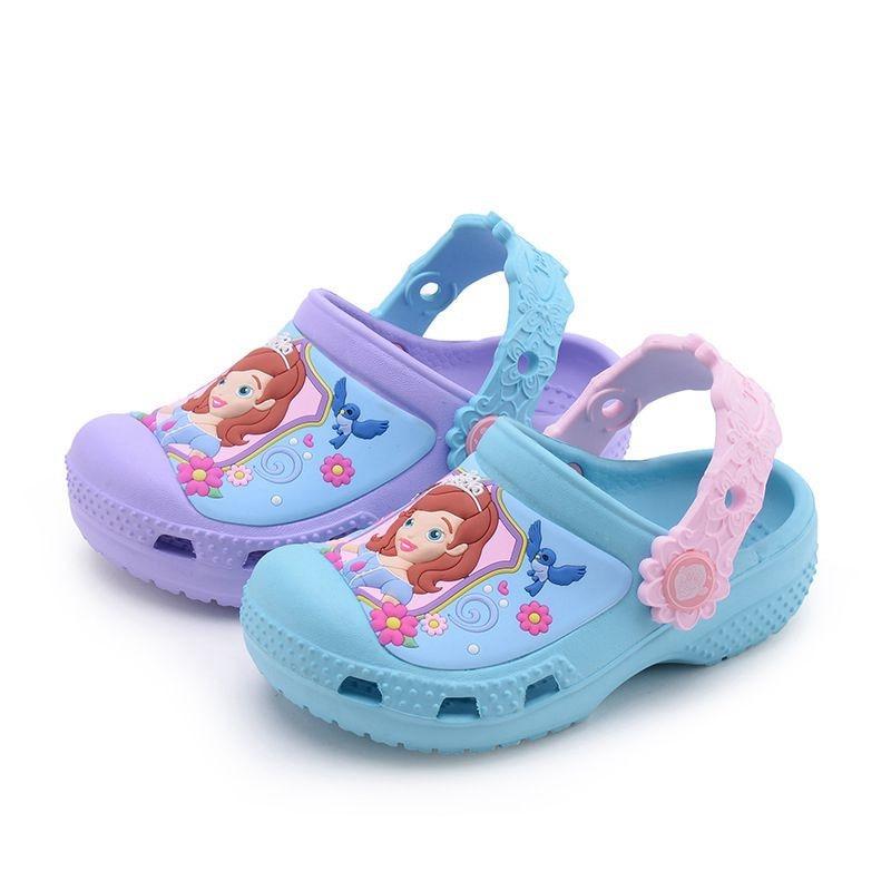 summer children girls slipper's cartoon Sofia princess elsa 3 color shoes Sandals Non-slip shoes Antiskid beach shoes