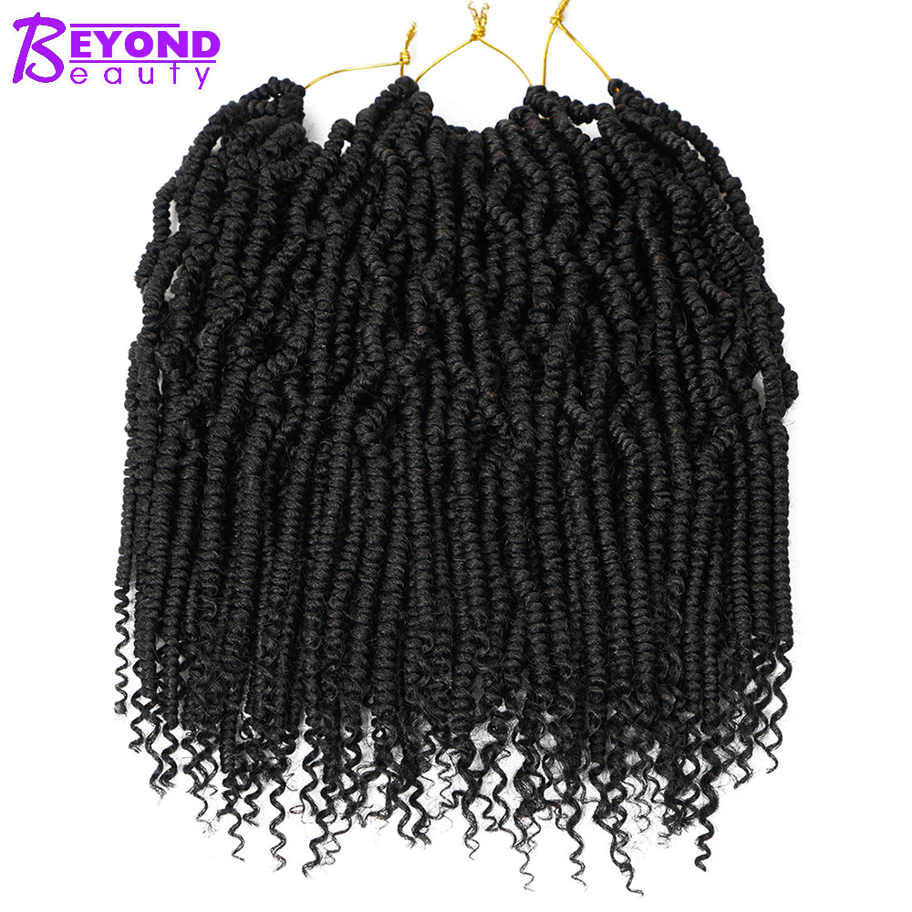 Short Ombre Brown Passion Twist Crotchet Hair Extensions 24Roots Spring Twist Crochet Synthetic Braids