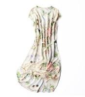 Bird's tongue floral silk mulberry silk dress pure silk middle dress bat even sleeve dress loose tie waist to show thin 2018