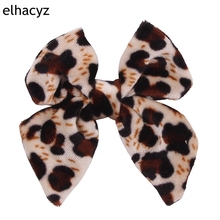 1PC Retail 2019 Leopard Hair bow Clips Girls Velvet 3 Bow Classical Photography Accessories For Kids clip