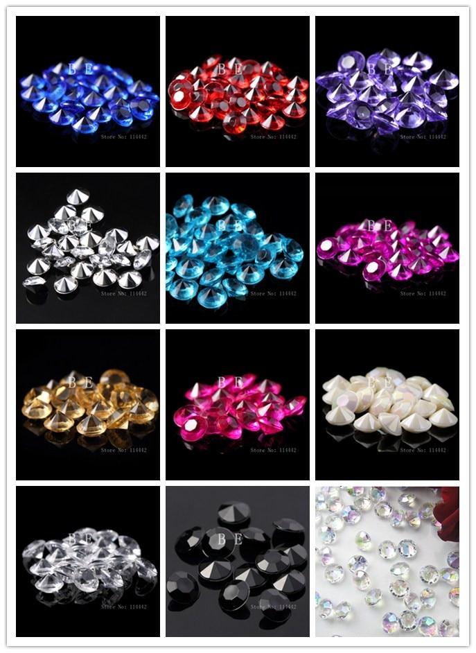100pcs/lot 12 Colors In Stock 10mm Wedding Table Scatter Crystals Diamond Confetti Decoration Acrylic Diamond Confetti