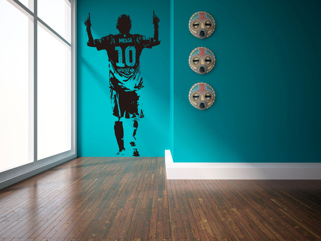 E Wall 5659 Lionel Messi Sports Theme Decals Football Star Stickers For Boys Room School And Bars Decor Special Kids Gifts