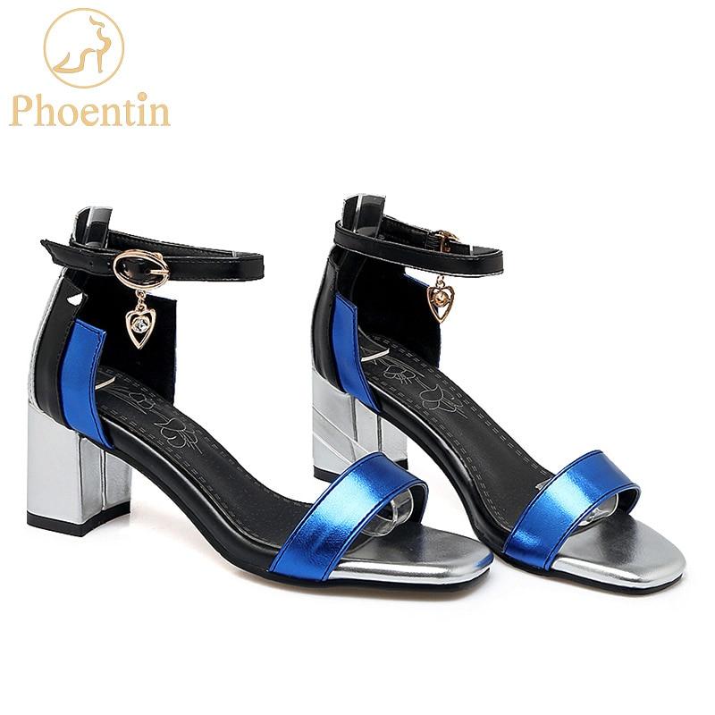 Phoentin ankle wrap buckle strap women sandals big size mixed colors crystal pendant sandalia square toe summer shoes 2019 FT260womans sandals big sizesummer shoeswomen sandals -