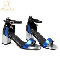 Phoentin Ankle Wrap Buckle Strap Women Sandals Big Size Mixed Colors Crystal Pendant Sandalia Square Toe