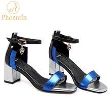 Phoentin 발목 랩 버클 스트랩 여성 샌들 큰 크기 혼합 된 색상 크리스탈 펜 던 트 sandalia 평방 발가락 여름 신발 2019 ft260