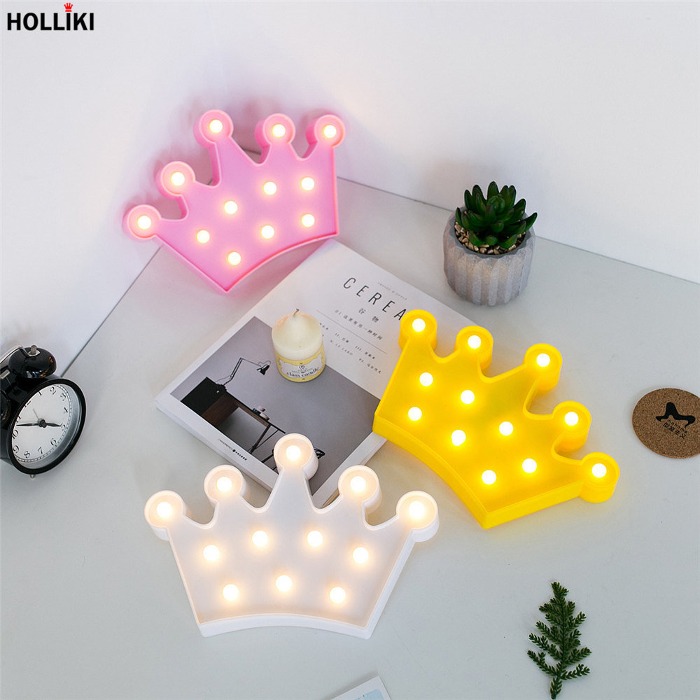 Smart 3d Led Crown Shape Table Lamp Lights Battery Powered Sweet Marquee Letter Night Lamp For Baby Bedroom Christmas Decor Kids Gift