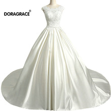 Doragrace Custom Made Real Picture A Line Applique Satin Wedding Gown Plus Size Dresses