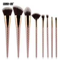8 Pcs Set Threaded Rod Design Comfortable Makeup Brush Kit Cosmetic Tool For Eyebrows Eyelashes Eyes