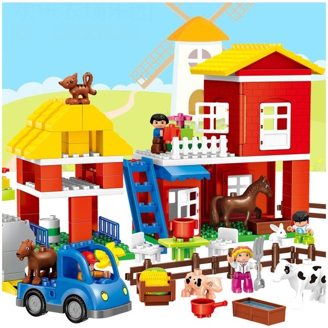 1727007f08 115 pz Compatibile Legoe Duploe Building Blocks Giocattoli per Bambini  Grandi particelle happy Farm mattoni Educativo