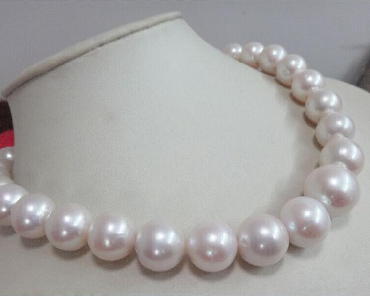 Magnifique collier de perles blanches rondes de 12-15mm de mer du sud 18 pouces 14 kMagnifique collier de perles blanches rondes de 12-15mm de mer du sud 18 pouces 14 k