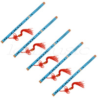 5Set Blue Paint Traditional Chinese Bamboo Flute Dizi Pluggable F Key Musical Instrument