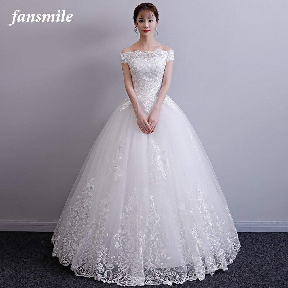 Fansmile New Vestidos de Novia Vintage Ball Gown Tulle Wedding Dress 2020 Princess Quality Lace Wedding Bride Dress FSM-017F/T