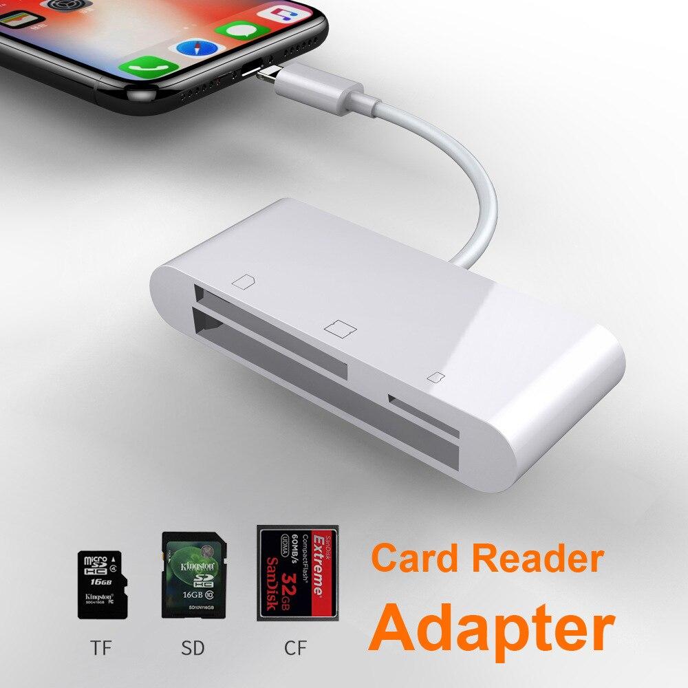6in1 SD SDHC TF Leitor de Cartão CF XD M2 Adaptador De Carregamento para IPhone XS MAX XR 3in1 SD TF CF gravador de cartões para IPhone X 5S 6 7 8 Plus