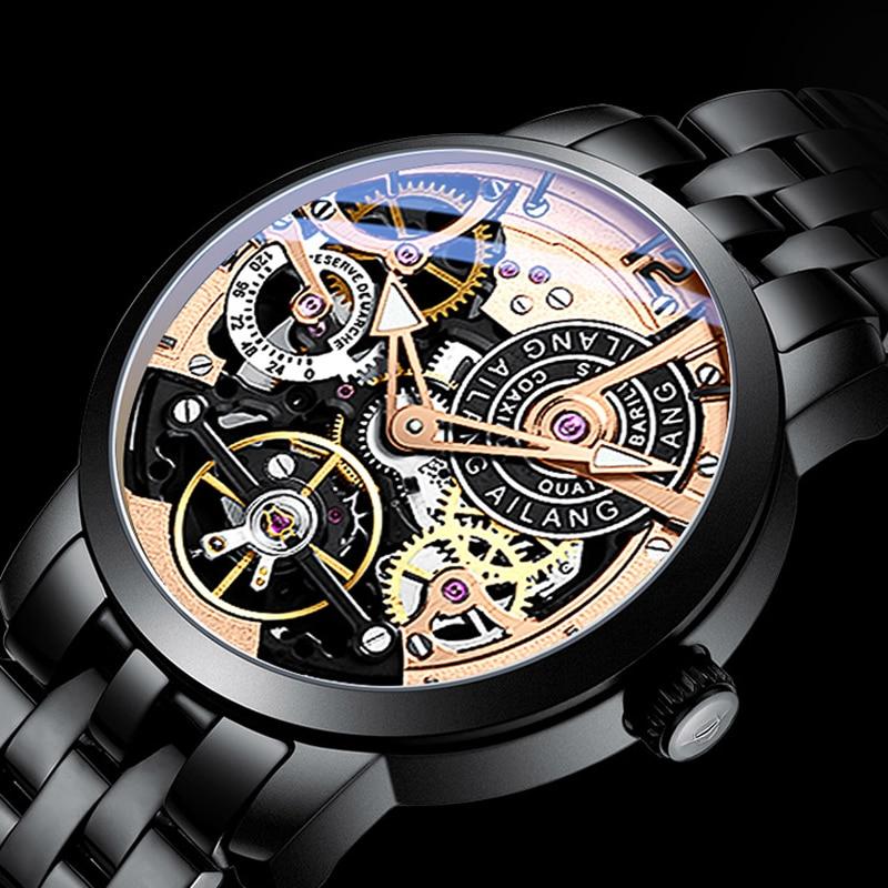 AILANG mannen Mechanische Horloge Tourbillon luxe mode mannen lederen merk sport horloges heren horloge automatische mannelijke horloge-in Mechanische Horloges van Horloges op  Groep 3