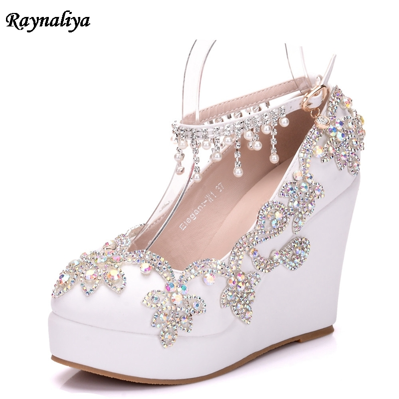Pumps White Bridal Pumps Pearl Flower Formal Dress Shoes Round Toe Wedges Heels Wedding Shoes Ultra High Heels XY-B0016 fashion rhinestone super high heel bridal dress shoes white flower pearl crystal wedding shoes round toe wedding ceremony pumps