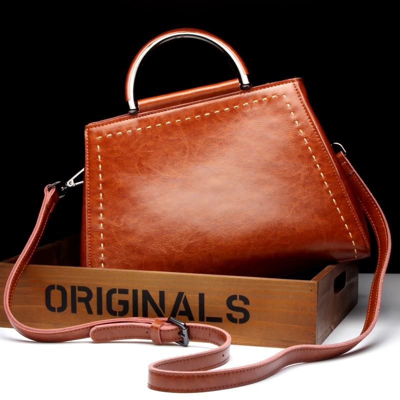 4e44bb148227 Женские сумки Пояса из натуральной кожи Tote бренд известный дизайнер  Винтаж Трапеция сумка Сумки через плечо Дамы Сумка