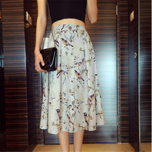 Bird Pattern Printing Single Breasted High Waist Long Maxi Skirts Women Summer New Style A Line skirt,jupe Femme Skirt TT1151