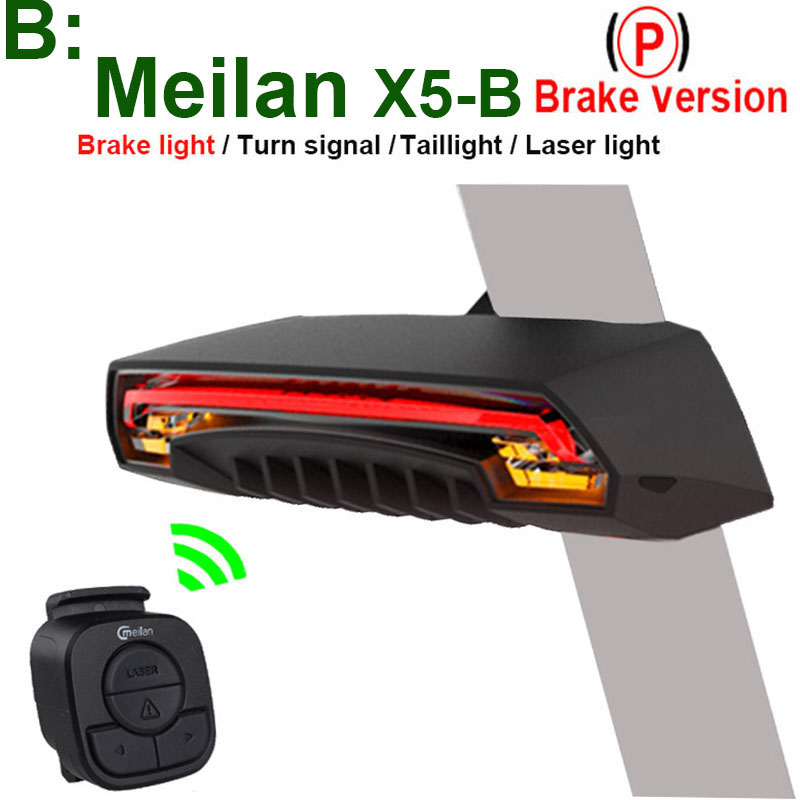 CMeilan X5-B Wireless Bike Brake Rear Light Bicycle laser tail lamp Smart USB Rechargeable Cycling Accessories Remote Turn led beginagain smart bike wireless laser rear light bicycle remote control turn light safety led warning tail light usb charge