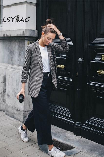 50ecc7c5176 LSYSAG Women Wool Coat Tunic Suit Plaid 2018 Autumn Slim Blazer Fashion OL  Female Top Long