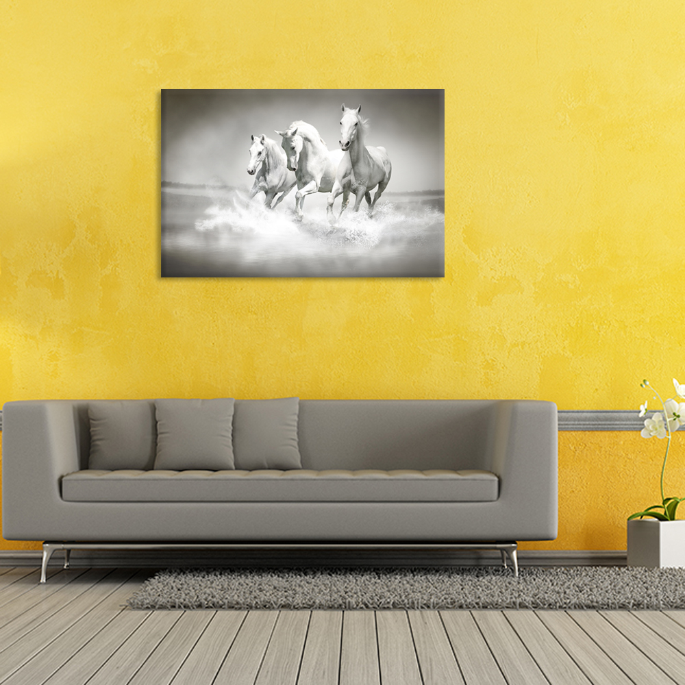 Single Modern Canvas Painting Horse Three Horses Running On Canvas ...