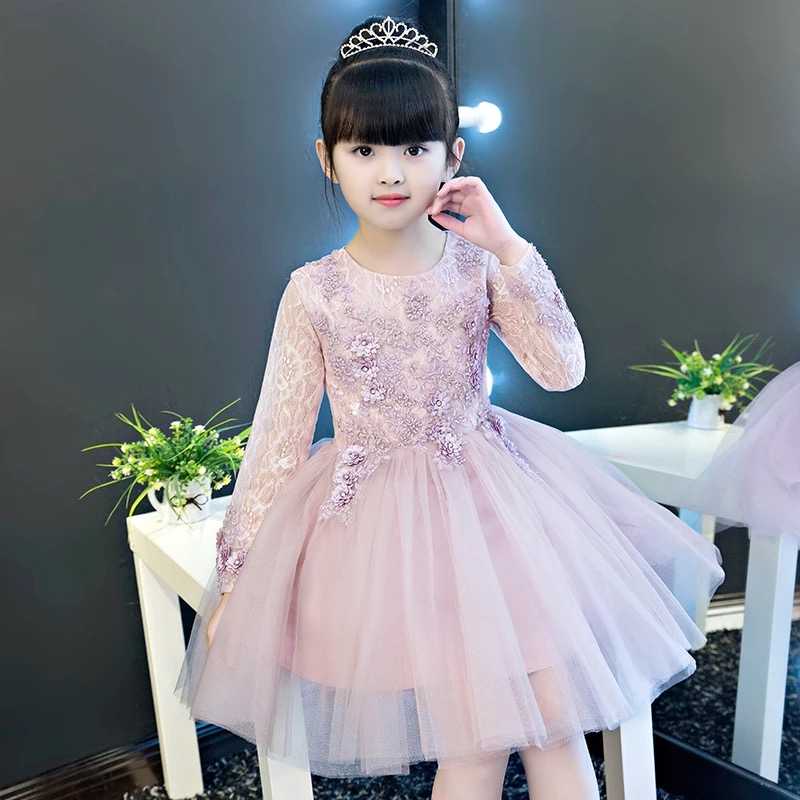 2017 New Hot-sales Children Girls Elegant Flowers Lace Princess Formal Party Dress Kids Babies Birthday Model Show Tutu Dress 2018 new high quality children girls pure white color princess lace wedding birthday dress kids babies elegant model show dress