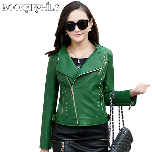 2018 Spring Women Faux Leather Jacket Fashion Women Coat Female Leather Jacket Zipper Rivet Washed PU Leather Jacket Brand 5XL