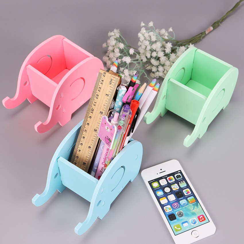 1PC Korean Multifunctional Fashion Creative Elephant Manual Assembly Pen Holder Wooden Cute Office Stationery Supplies in Pen Holders from Office School Supplies