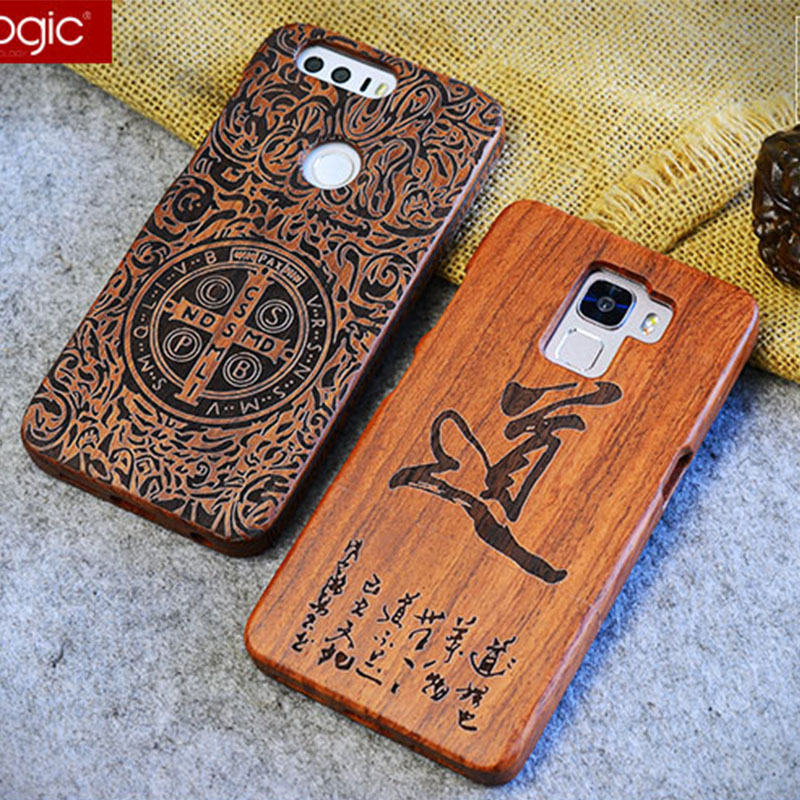 YueTuo luxury real genuine rosewood coque case for huawei honor 7 honor7 laser carving phone wood hard back cover accessories