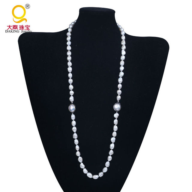 11-12mm baroque pearl necklace white freshwater pearl necklace bead knotted necklace polymer clay & rhinestone long necklace