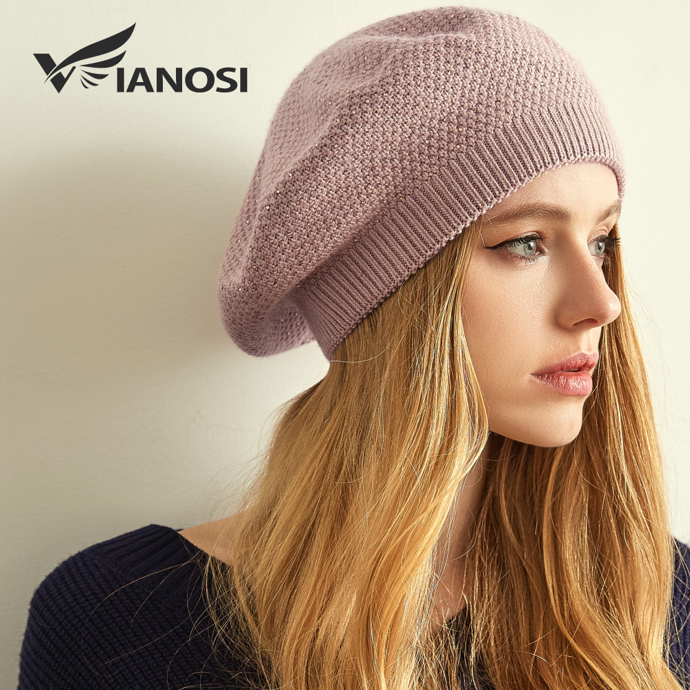 cc8c40a0c VIANOSI Women Winter Beret Hat Female Angora Wool Knitted Berets Luxury  Rhinestone Caps Fashion Solid Color Thick Gorros