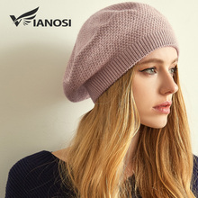 VIANOSI Women Winter Beret Hat Female angora wool knitted berets Luxury Rhinestone Caps Fashion Solid color Thick Gorros