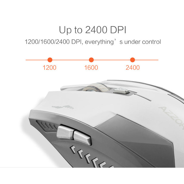 Wireless Optical Mouse Mute Button Noiseless Gaming Mice 2400dpi Built-in Battery