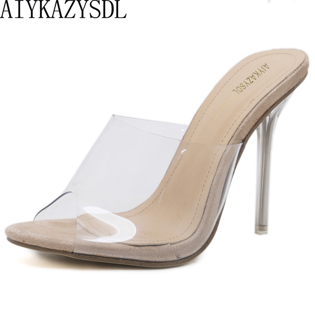 439701c77d5 AIYKAZYSDL Women Clear High Heels Peep Toe Pumps Summer PVC Transparent  Sandals Gladiator Shoes Stilettos Mules Slippers 2018