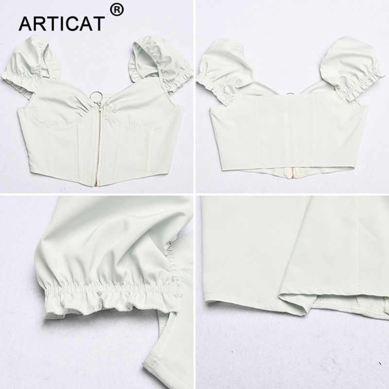Articat Ruffles V Neck Sexy Corset Crop Top Women White Backless Zipper Short Summer Tank Top Solid Casual Women Tops