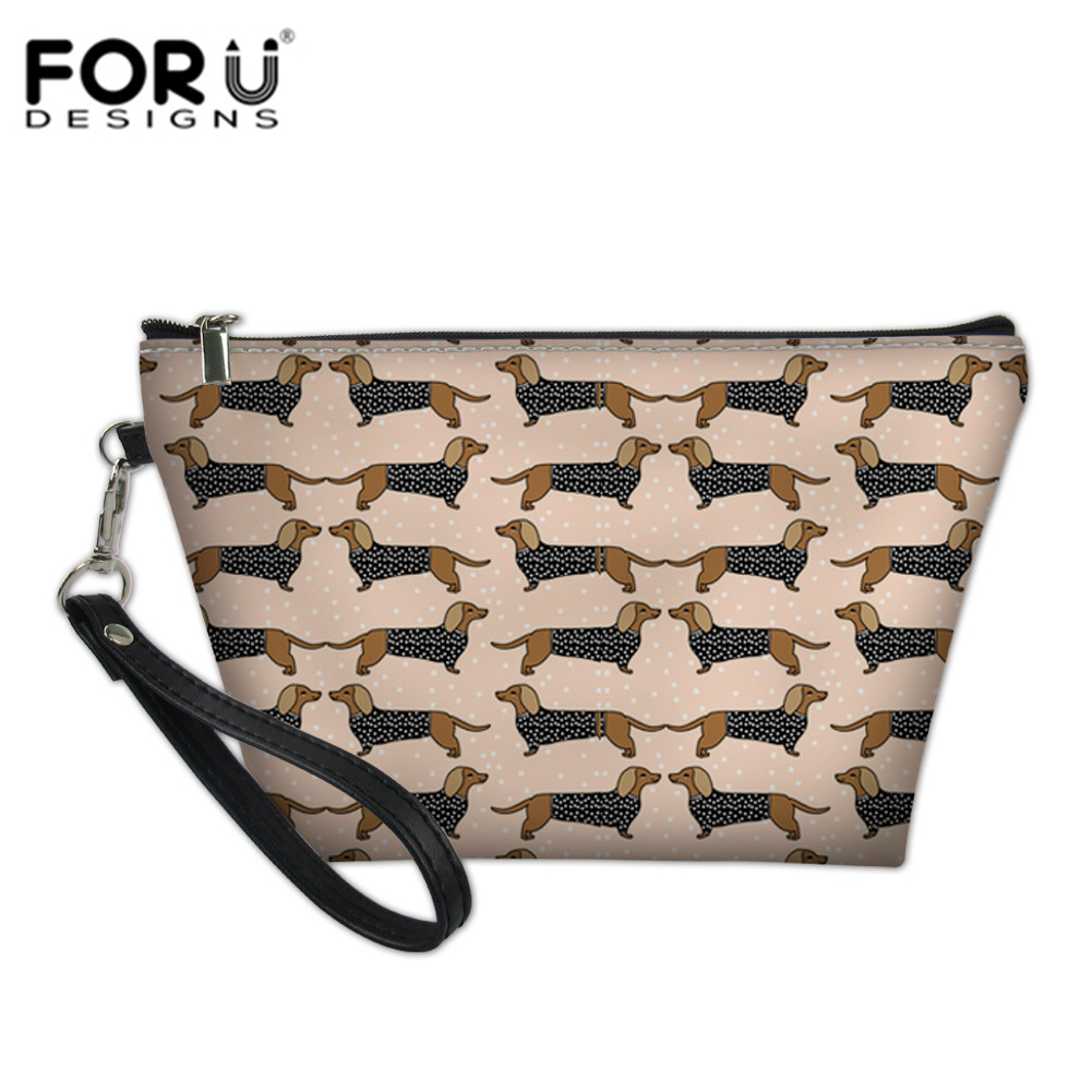FORUDESIGNS Makeup Pouch Organizers Bags for Female Dachshunds Printing Toiletry Bag Cosmetics Make Up Pouchs Functional Bag