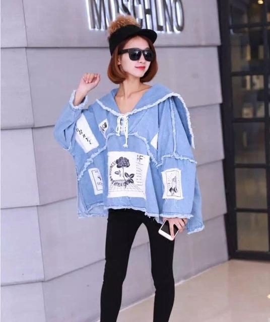 [Em breve seu] 2017 moda primavera nova jaqueta jeans feminino curto parágrafo mulher flor impressão mulheres manga comprida KS0765
