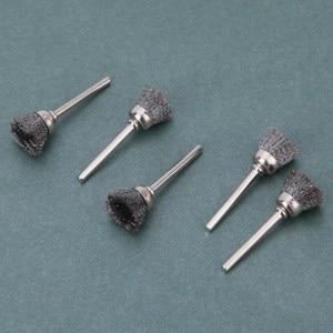 Image 4 - 10 pièces en acier inoxydable fil roue brosses ensemble Kit Dremel accessoires pour Mini perceuse outils rotatifs polissage dremel brosse