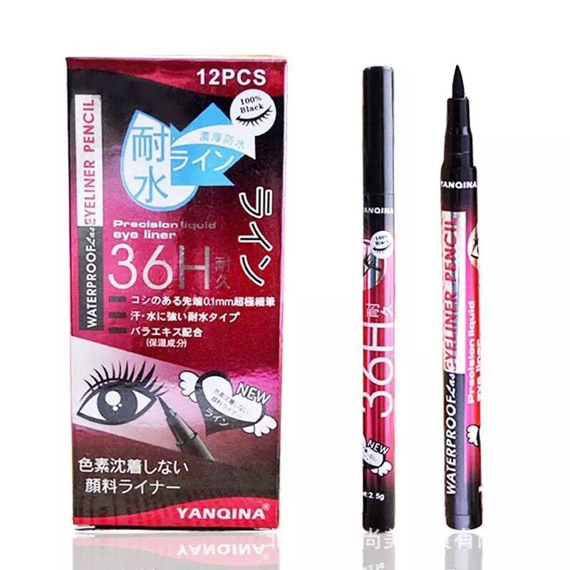 240pcs=20boxes DHL free Waterproof YANQINA Eyeliner Pencil Cosmetics 36H Precision Liquid Eye liner Makeup