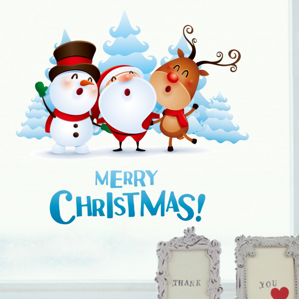 Christmas Santa Claus And Deer And Snowman Illustration
