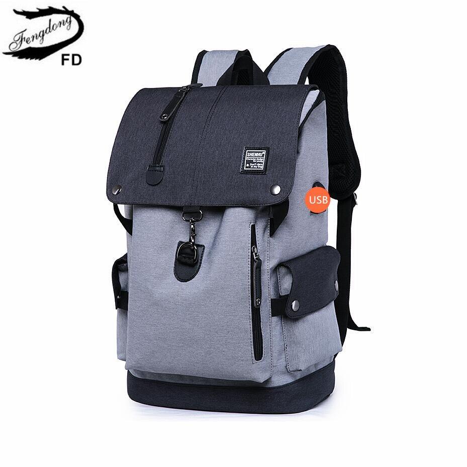 FengDong high school backpack waterproof school bags for boys big usb backpack anti theft bag men travel bags schoolbag boy gift