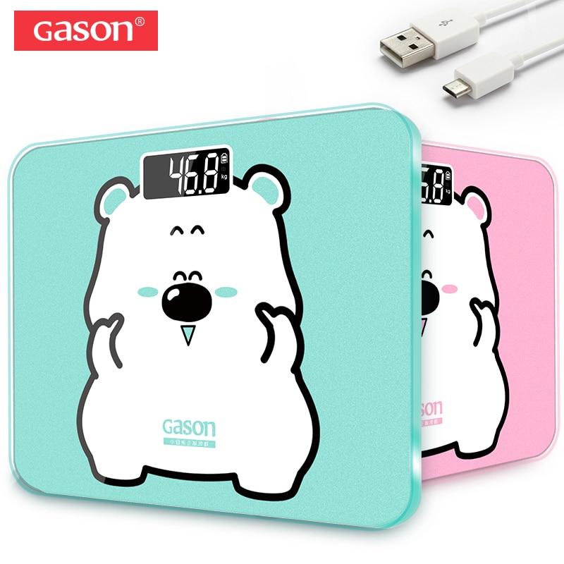 GASON A3s USB De Charge Échelle LCD Affichage Numérique Poids Pesant Au Sol Électronique Smart Balance Corps Ménage Salles de Bains 180 kg