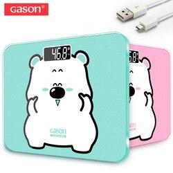 GASON A3s Balanza de baño Carga USB Pantalla LCD Vidrio templado 180kg